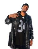 Homem novo considerável de hip-hop no branco imagens de stock royalty free