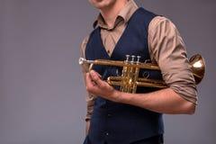 Homem novo considerável do jazz Fotos de Stock