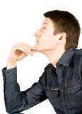 Homem novo considerável pensativo Foto de Stock Royalty Free