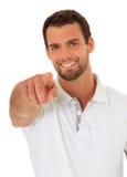 Homem novo de Attractie que aponta com dedo Fotografia de Stock