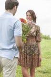Homem novo de vista traseira que dá flores à amiga no parque foto de stock royalty free