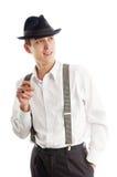 Homem novo do gângster com cigare no fundo branco Imagem de Stock Royalty Free