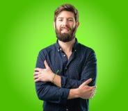 Homem novo do moderno com barba e camisa fotos de stock