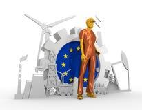 Homem novo e ícones isométricos industriais ajustados Foto de Stock Royalty Free