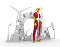 Homem novo e ícones isométricos industriais ajustados Fotografia de Stock Royalty Free