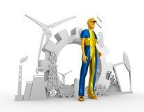 Homem novo e ícones isométricos industriais ajustados Imagens de Stock Royalty Free
