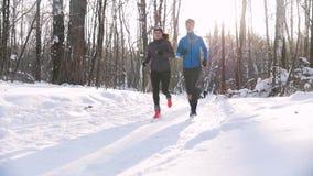 Homem novo e mulher da floresta do inverno que correm nas madeiras da manhã Luz solar bonita e neve de cristal vídeos de arquivo