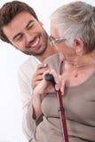 Homem novo e mulher mais idosa Fotografia de Stock Royalty Free