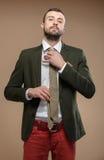 Homem novo em um terno verde com um laço imagem de stock royalty free