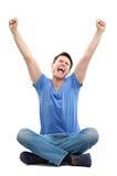 Homem novo Excited Imagens de Stock Royalty Free