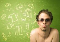 Homem novo feliz com ícones dos vidros e da roupa ocasional Foto de Stock