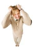 Homem novo infeliz isolado no fundo branco Imagens de Stock Royalty Free