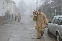 Homem novo mascarado como um urso em uma rua nevoenta da vila Foto de Stock Royalty Free
