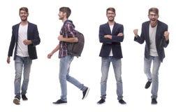 Homem novo moderno bem sucedido da colagem da foto Isolado no branco imagem de stock