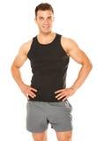 Homem novo muscular saudável isolado no branco fotos de stock
