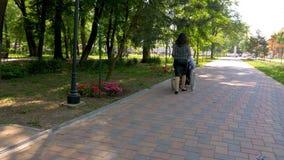 Homem novo na cadeira de rodas que anda com sua esposa fora video estoque