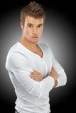Homem novo na camisa branca fotos de stock