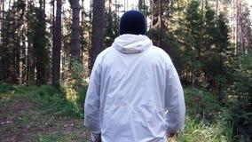 Homem novo na viagem de acampamento footage Conceito da liberdade e da natureza Opinião o homem da parte traseira que anda nas ma imagens de stock