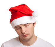 Homem novo no chapéu de Santa Foto de Stock Royalty Free