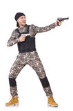 Homem novo no uniforme militar que guarda a pistola Fotos de Stock Royalty Free