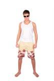 Homem novo nos shorts imagens de stock