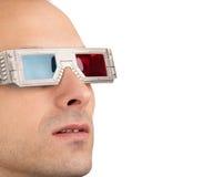 Homem novo nos vidros 3D Fotografia de Stock Royalty Free