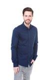 Homem novo ocasional com camisa azul Foto de Stock Royalty Free
