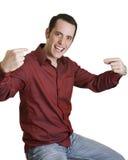 Homem novo que aponta a si mesmo Foto de Stock Royalty Free