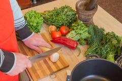 Homem novo que cozinha na cozinha Alimento saudável Imagem colhida de vegetais masculinos novos do corte para o alimento Imagens de Stock Royalty Free
