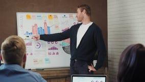 Homem novo que discute o plano de negócios na placa branca com os colegas durante uma reunião filme