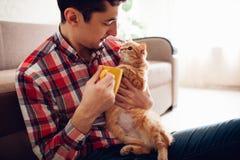 Homem novo que guarda um gato e que bebe o chá em casa imagens de stock royalty free