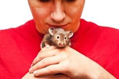Homem novo que joga com um hamster Fotografia de Stock Royalty Free