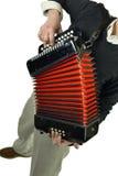 Homem novo que joga o acordeão Fotos de Stock Royalty Free