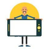 Homem novo que mantém o smartphone disponivel Projeto do ícone para o app móvel Imagens de Stock Royalty Free