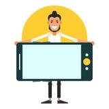 Homem novo que mantém o smartphone disponivel Projeto do ícone para o app móvel Imagens de Stock