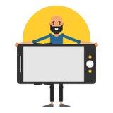 Homem novo que mantém o smartphone disponivel Projeto do ícone para o app móvel Imagem de Stock