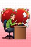 Homem novo que redige uma carta de amor usando uma máquina de escrever velha Fotografia de Stock