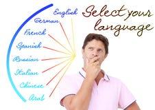 Homem novo que seleciona a língua Fotos de Stock Royalty Free