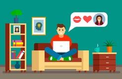 Homem novo que senta-se no sofá com um portátil na correspondência em linha do amor O conceito de datar em linha, de datar, de ve ilustração do vetor