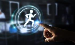Homem novo que usa aplicação running para verificar seus desempenhos 3D Foto de Stock