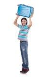 Homem novo que viaja com as malas de viagem isoladas Fotos de Stock
