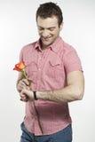 Homem novo romântico que espera sua menina Foto de Stock Royalty Free