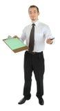 Homem novo vestido em um escritório com um dobrador em olá! Foto de Stock Royalty Free