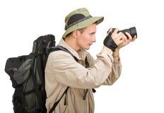 Homem novo vestido em um turista imagem de stock