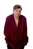 Homem novo vestido em uma camiseta marrom Fotografia de Stock Royalty Free