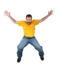 Homem ocasional que grita e que cai Imagem de Stock Royalty Free