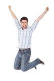 Homem ocasional que shouting para a alegria Imagem de Stock Royalty Free
