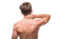 Homem ou desportista com dor no pescoço isolado no fundo branco imagens de stock