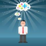 Homem-pensar-positivo-pensamentos Foto de Stock