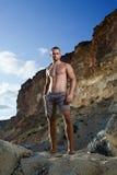 Homem perfeito do corpo com torso despido Fotos de Stock